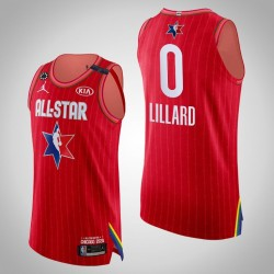 Blazer Damian Lillard & 0 2020 NBA All-Star Game Authentic Red Jersey