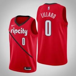 Männer NBA 2018-19 Damian Lillard Portland Trail Blazers & 0 verdient Ausgabe Red Swingman Jersey