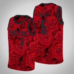 Männer Portland Trail Blazers Rodney Hood & 5 Red Rose National Flower Jersey - Nike