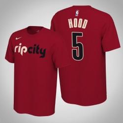Portland Trail Blazers & 5 Rodney Hood verdient Red 2020 Saison Name & Nummer T-Shirt