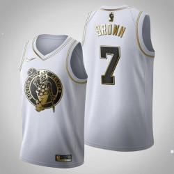 Boston Celtics Jaylen Brown & 7 Gold Edition Weiß Jersey