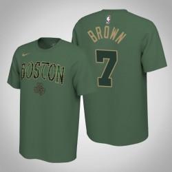 Boston Celtics und 7 Jaylen Brown verdient Grün 2020 Saison Name & Nummer T-Shirt