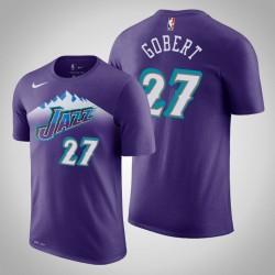 Utah Jazz & 27 Rudy Gobert Holz Classics Lila 2020 Saison Name & Nummer T-Shirt