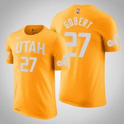 Utah Jazz & 27 Rudy Gobert City Gold 2020 Saison Name & Nummer T-Shirt