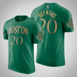 Boston Celtics und 20 Gordon Hayward Stadt Kelly-Grün 2020 Saison Name & Nummer T-Shirt