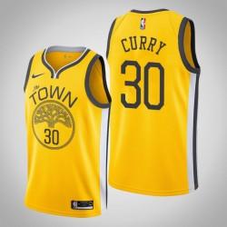 Männer NBA 2018-19 Stephen Curry Golden State Warriors und 30 verdient Ausgabe Gelb Swingman Jersey