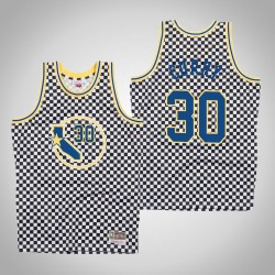 Herren Mitchell & Ness Stephen Curry Krieger & 30 Schachbrett-Weiß Swingman Jersey