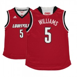 Jugend Malik Williams Jugend NCAA Louisville Cardinals # 5 Red Basketball Performance-Trikot