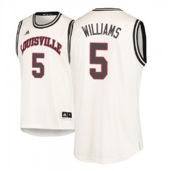 Malik Williams Männer NCAA Louisville Cardinals # 5 Creme Holz Classics Basketball Trikot
