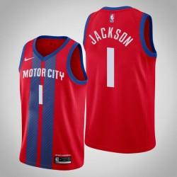 2019-20 Pistons Reggie Jackson # 1 Red City Trikot