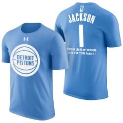 Männer Reggie Jackson Detroit Pistons # 1 Vatertags-Blau-T-Shirt mit der Nachricht