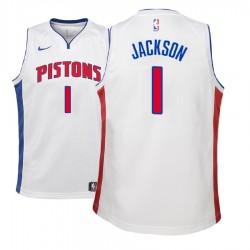 Jugend 2017-18 Saison Reggie Jackson Detroit Pistons # 1 Verband Weiß Swingman Trikot