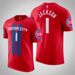 Detroit Pistons # 1 Reggie Jackson Stadt Red 2020 Saison Name # Nummer T-Shirt