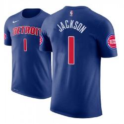 Männer Reggie Jackson Detroit Pistons # 1 Blue Symbol Name # Nummer T-Shirt