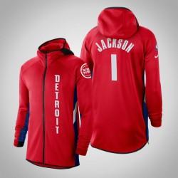 Herren Pistons Reggie Jackson # 1 verdient Red 2020 Saison Showtime Hoodie