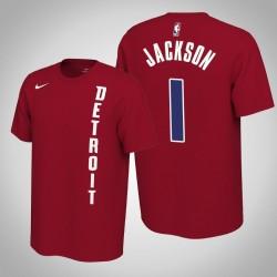 Detroit Pistons # 1 Reggie Jackson verdient Red 2020 Saison Name # Nummer T-Shirt
