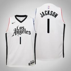 Jugend Reggie Jackson Clippers # 1 Stadt Weiß 2020 Jahreszeit Trikot