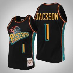 Pistons Reggie Jackson # 1 Black Ring-Sammlung Swingman Mitchell # Ness Trikot