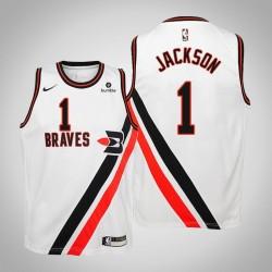 Jugend Reggie Jackson Clippers # 1 Holz Classics Weiß 2020 Jahreszeit Trikot