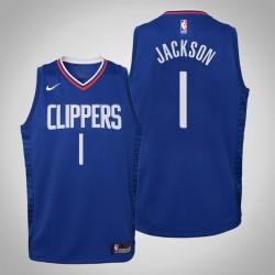 Jugend Reggie Jackson Clippers # 1 Icon Blau 2020 Jahreszeit Trikot