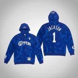Clippers Reggie Jackson # 1 AAPE x Mitchell Ness Camo PulloverHoodie Königs