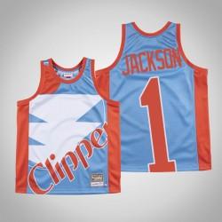 Herren Clippers Reggie Jackson & 1 Blue Big Gesicht Hartholz Classics Jersey