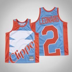 Herren Clippers Kawhi Leonard & 2 Blue Big Gesicht Hartholz Classics Jersey