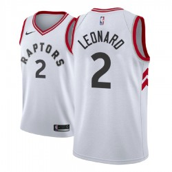 Männer NBA 2018-19 Kawhi Leonard Toronto Raptors & 2 Verband Weiß Jersey