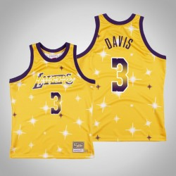 Männer Lakers Anthony Davis & 3 Gold Airbrush Knit Swingman Mitchell & Ness Klassische Jersey