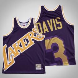Männer Lakers Anthony Davis & 3 Lila Big Gesicht Hartholz-Klassiker Jersey