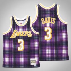 Männer Lakers Anthony Davis & 3 Lila Private School Swingman Holz Classics Jersey