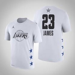 2019 NBA All-Star Game Männer Los Angeles Lakers LeBron James # 23 Weiß T-Shirt