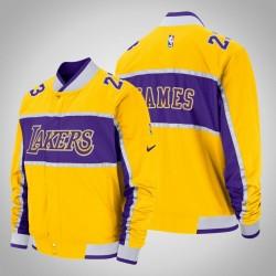 Männer LeBron James Los Angeles Lakers und 23 Gold Icon Jacke Feldrand