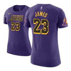 Frauen LeBron James Los Angeles Lakers und 23 Ort Ausgabe Lila Name # Nummer T-Shirt