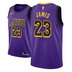 Männer NBA 2018-19 LeBron James Los Angeles Lakers und 23 Ort Ausgabe purpurrotes Trikot