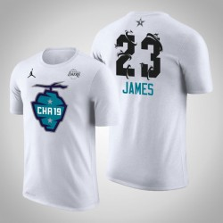 2019 NBA All-Star Game Männer Los Angeles Lakers LeBron James # 23 Weiß The Buzz Side Sweep T-Shirt