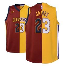 Jugend NBA 2018-19 LeBron James Los Angeles Lakers und 23 Split Mode Maroon Gold-Trikot