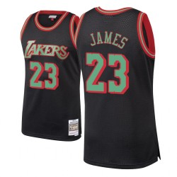 LeBron James Los Angeles Lakers und 23 schwarze Holz Classics Weihnachten Swingman Trikot