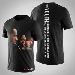 Männer Dwyane Wade Miami Heat # 3 vs Lebron James Black Always Be Together T-Shirt
