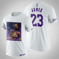 Los Angeles Lakers LeBron James # 23 Weiß Kunstdruck König von LA T-Shirt