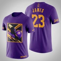 Los Angeles Lakers LeBron James # 23 Lila Art Stadt der Engel-Druck-T-Shirt