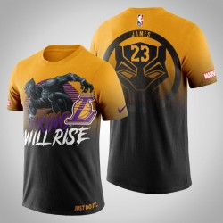Männer Los Angeles Lakers LeBron James # 23 Gold Marvel Wakanda für immer T-Shirt