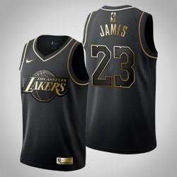 Los Angeles Lakers LeBron James # 23 Golden Edition Schwarz Trikot