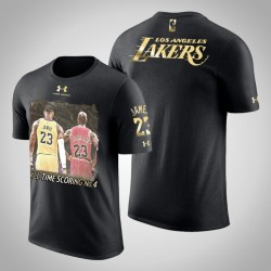 Männer LeBron James Los Angeles Lakers und 23 Black All-Time Scoring No.4 Silhouette vs Jordan T-Shirt