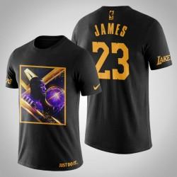 Los Angeles Lakers LeBron James # 23 Black Art Stadt der Engel-Druck-T-Shirt