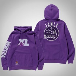 Männer Los Angeles Lakers LeBron James # 23 Lila XLARGE X New Era X NBA PulloverHoodie