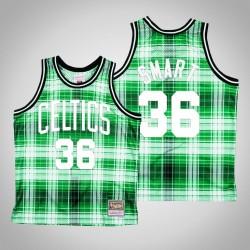 Männer Celtics Marcus Smart & 36 Grün Private School Swingman Holz Classics Jersey