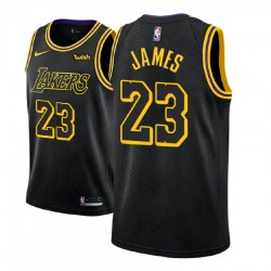 Männer NBA 2018-19 LeBron James Los Angeles Lakers und 23 Ort Edition Black Jersey