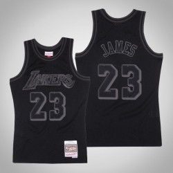 Männer Lakers LeBron James & 23 Black Tonal Holz Classics Jersey