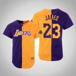 Herren Mitchell & Ness LeBron James Lakers & 23 Split Mesh-Knopf Holz Classics Jersey